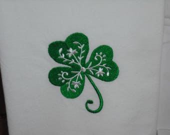 Single Shamrock St. Patrick's Day  flour sack towel. Machine embroidered.