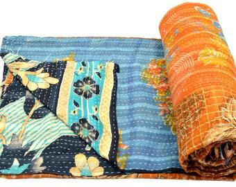 Vintage Kantha Quilt Gudri Reversible Throw Ralli Bedspread Bedding India OG1037