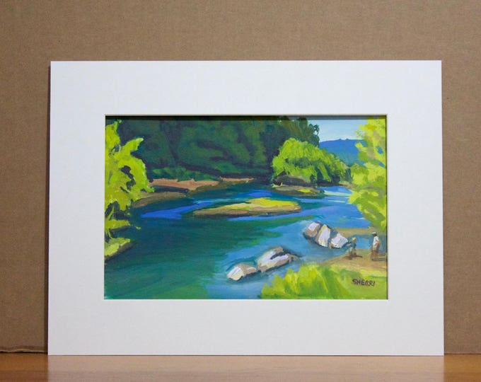 Landscape Painting Summer Day at Greenwaters Park Willamette River