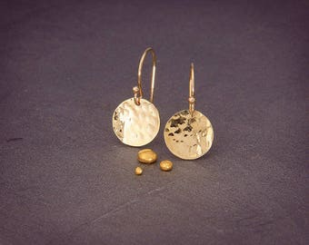 BIG SALE/Solid Gold Earrings  | Handmade hammered disc shaped earrings