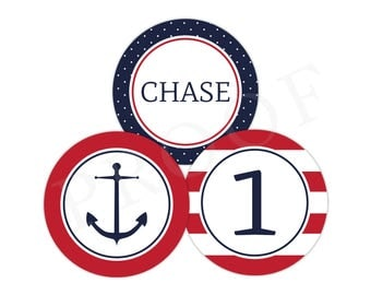 Personalized Nautical Party Stickers (Anchor Birthday Decor, Printable Party Circles, Printable Anchor Decorations, Preppy Nautical)