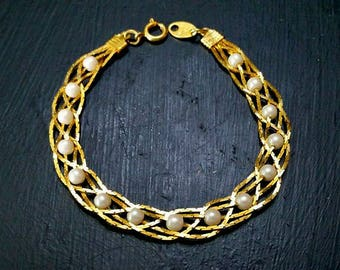 Vtg Signed Avon Braided Gold Chain & Pearl Bracelet Vintage Costume Jewelry 5 Chain Collectible Beaded 10K Plated Gift