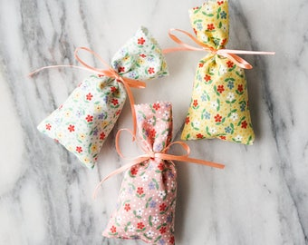 French Lavender Sachet, Handmade Cotton Pouch Sachet, Handmade Lavender Sachet, Valentine, gift under 10