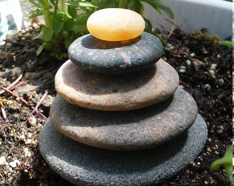 Natural Beach Stone Stack 5 Delightful Ocean Rocks Zen Stones Wish Stone Yoga Meditation Gifts Zen Garden Sculpture Home Decor Fountain Sea