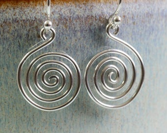 Celtic Spiral Earrings in Sterling Silver - Open Spirals, lightweight Dangle Drop Earrings