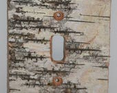 Birch Bark Switch Plate, Receptacle and Rocker Plate Covers-No Sticks