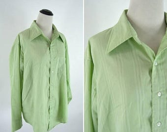 SUMMER SALE Vintage 70's 80s Men's Lime Green Dress Shirt - Unisex Long Sleeve Button up Blouse - Boyfriend Tee - Size Large