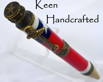 gr - Keen Handcrafted Handmade Texas Flag Cowboy Antique Brass Twist Pen