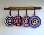 set of 4 - Round Purple Reversible Trivet Set - Multicolored Trivet - striped trivet - knit crocheted trivet - FREE SHIPPING