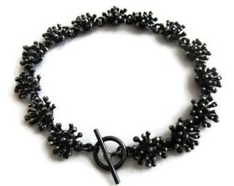 Oxidized Silver Bracelet, Silver Link Bracelet, Starburst Bracelet, Artisan Handmade  by Sheri Beryl