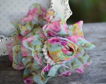 "Floral Chiffon Flower, Chiffon Flowers, 5"" Chiffon Flowers, Chiffon Pearl Flowers,  Large Chiffon Flower"