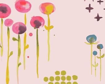 Flower Fabric//Monaluna Organic Cotton Fabric//Poem Petal Poplin//Haiku Collection