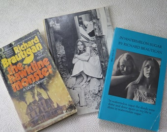 Richard Brautigan Vintage Paperback Books In Watermelon Sugar Hawkline Monster Pill Springhill Mine 1960s 1970s Novel Hippie Fiction Poetry