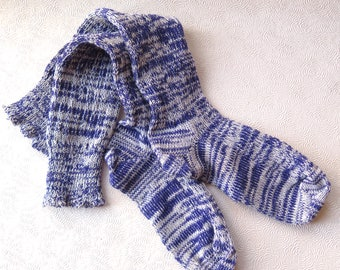Purple Women's Boot Socks Knee High Socks Lavender Ivory Ragg Fashion CSM Handcranked Wool Cotton Blend Christmas Gift Custom Size Socks