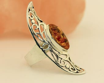Big! Baltic Amber Ring // 925 Sterling Silver // Ring Size 5.5 Jewelry