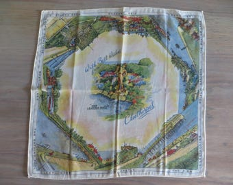 Vintage 50s 60s Cleethorpes hanky handkerchief souvenir, Leaking Boot, Ross Castle, Dolphin Gardens