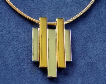 Vintage Gold & Silver Bar Necklace GenX Avon Pendant Necklace Modern Abstract Minimal Elegant BFF Gifts Cool Gifts for Her Gifts Under 25