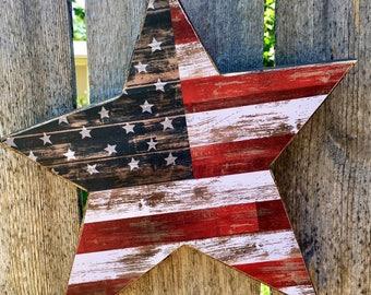 Americana Decor Wood Star | Patriotic Fourth of July America Wooden Primitive Star | Primitive Wood Star Decoration America Rustic Farmhouse