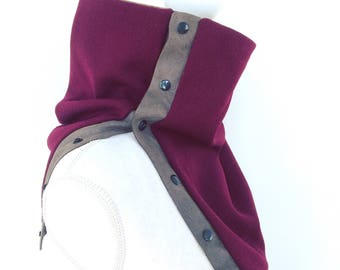 Merlot Fabric Snap Cowl, Neckwarmer, Sewn Cowl, Recycled Leather, Fabric Collar Scarf, Remnant Fabric Scarf, Winter Cowl, Hoshii Designs