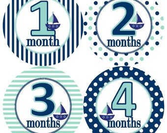 Baby Monthly Milestone Growth Stickers Nautical Navy Mint Sailboats Nursery Theme MS639 Baby Shower Gift Baby Photo Prop
