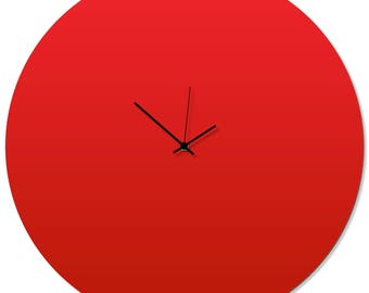 Contemporary Clock 'Redout Circle Clock' by Adam Schwoeppe - Original Red Kitchen Clock Minimalist Wall Decor on Aluminum Polymetal
