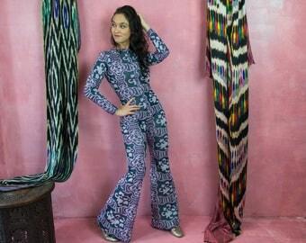 Vintage Print Jumpsuit, Jumpsuit Womens, Vintage Jumpsuit, Pattern Jumpsuit, Polyester Knit Jumpsuit, 70s Jumpsuit, Bell Bottom Jumpsuit