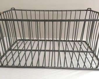 Vintage Metal Wire Box Crate Industrial Storage