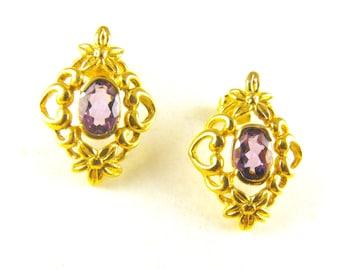 Amethyst Earrings Sterling Vermeil Art Nouveau Design Style Posts For Pierced Ears Marked 925