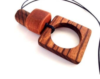 Primitive Style Necklace African Zebra Wood