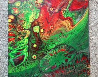 "Sea Tangle.  Fluid Acrylic on a 11"" x 14""  Stretched Canvas."