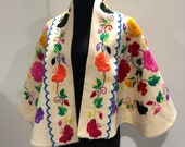 Vintage 1960s heavily embroidered throw shawl cape Mexican style