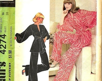 ON SALE McCall's 4274 Halston Lounging Pajamas Sewing Pattern, Belted Wrap Top And Pants, Size 16, UNCUT