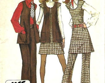 ON SALE Simplicity 5192 Jiffy Mini Jumper Or Tunic, Vest And Pants Pattern, Size 14, Bust 36, UNCUT