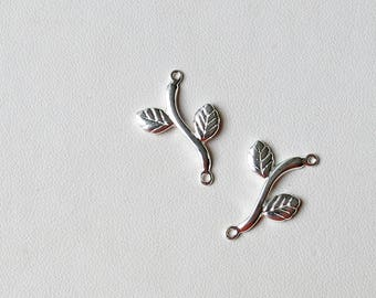 Sterling silver branch and leaf connectors