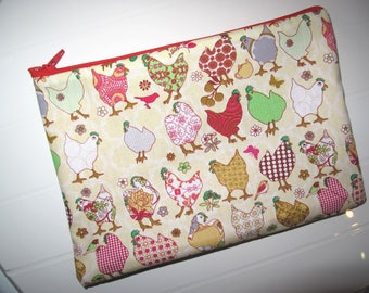 Makeup organizer Pouch Cosmetic case with hens
