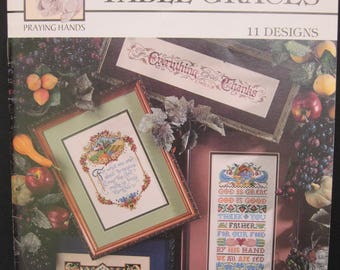 Table Graces, eleven counted cross stitch designs, Praying Hands 24006, 1996, prayers before meals,Sandy Orton, Kooler Design Studio, 22 pgs