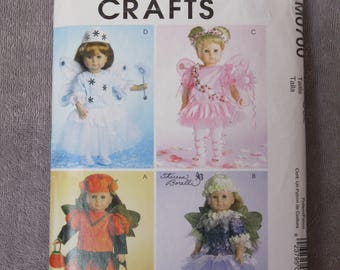 "18"" Doll Fairy Costume Pattern, variety of four designs by Theresa Borelli, McCall's Crafts 0700/4741, complete and largely uncut, 2004"