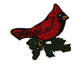 ID 0597 Cardinal Bird Patch Robin Perching Branch Embroidered Iron On Applique