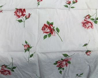 """Vintage Pink Roses Fabric Remnants Shabby Chic 37"""" x 25"""""""
