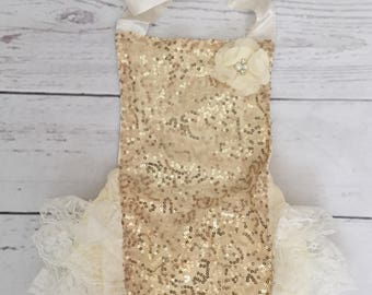 Baby girls gold 1st birthday outfit-gold and ivory birthday-glitter crown headband-gold glitter bubble romper headband set-cake smash outfit