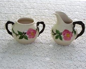 Franciscan Desert Rose Sugar Bowl and Creamer Set