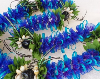Midnight blue Orchid flower lei