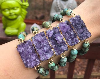 AMETHYST+AFRICAN TURQUOISE Stretch bracelet // ready to ship // gold dipped