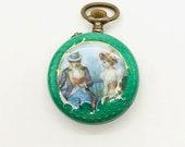 Enamel Pocket Watch, Vintage Enamel Pocket Watch, Enamel Pocket Watch Pendant, Open Faced Enameled Pocket Watch, Vintage Pocket Watch