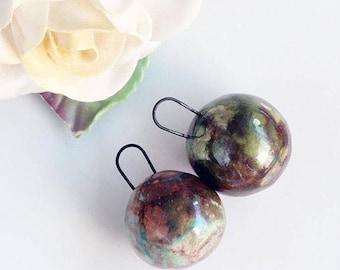 ON SALE Handmade Porcelain Raku Ball Drops, Green and Copper Glaze Patina (2)