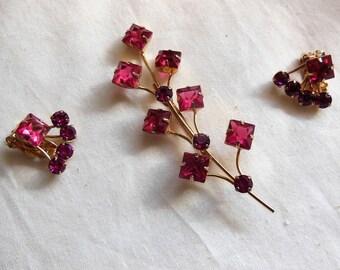 Vintage Fuchsia Pink Rhinestone Flower Spray Brooch Earrings Set Demi Parure Juliana?