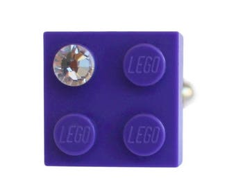 ON SALE Purple LEGO (R) brick 2x2 with a Diamond color Swarovski crystal on a Silver/Gold plated adjustable ring finding