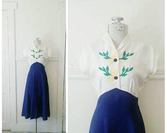 20% OFF / Town on the Prairie 1940s White/Cobalt Blue Linen Dress with Yellow/Green Floral Button Detail