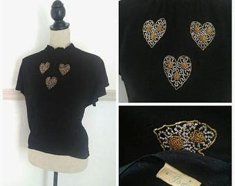 20% OFF / In My Heart 1940s Black Flutter Sleeve Blouse with Beaded Heart/Ruffle Detail