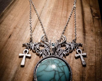 Necklace silver turquoise lace Ankh Deer Katniss Everdeen ♠ Hunger Games ♠